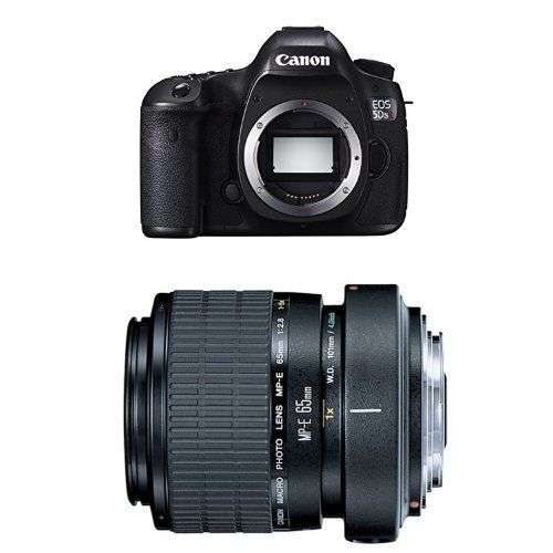 Canon EOS 5DS R Digital SLR Camera w MP-E 65mm F2.8 1-5x Macro Lens Bundle. DPReview Recommended Bundle. Canon EOS 5DS R Digital SLR with Low-Pass Filter Effect Cancellation (Body Only). Canon MP-E 65mm f/2.8 1-5X Macro Lens for Canon SLR Cameras.