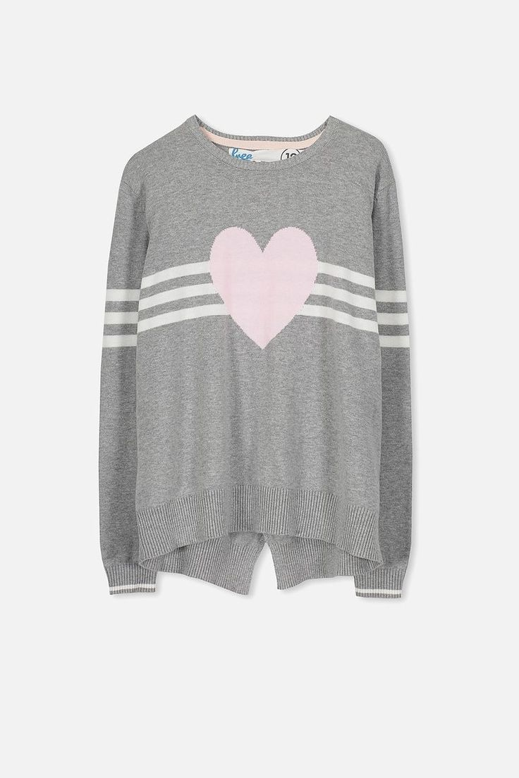 Milly Knit, MID GREY MARLE/HEART
