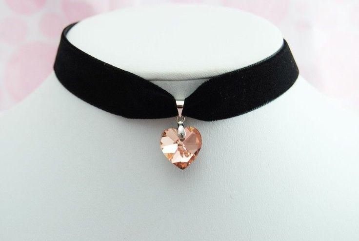 Classics Champagne HEART Pendant Black Velvet Ribbon Choker Necklace Gothic J82 #Choker