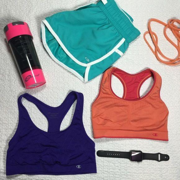 Champion Sports Bras One pink/orange reversible sports bra and one purple Double-Dry sports bra. Champion Intimates & Sleepwear Bras