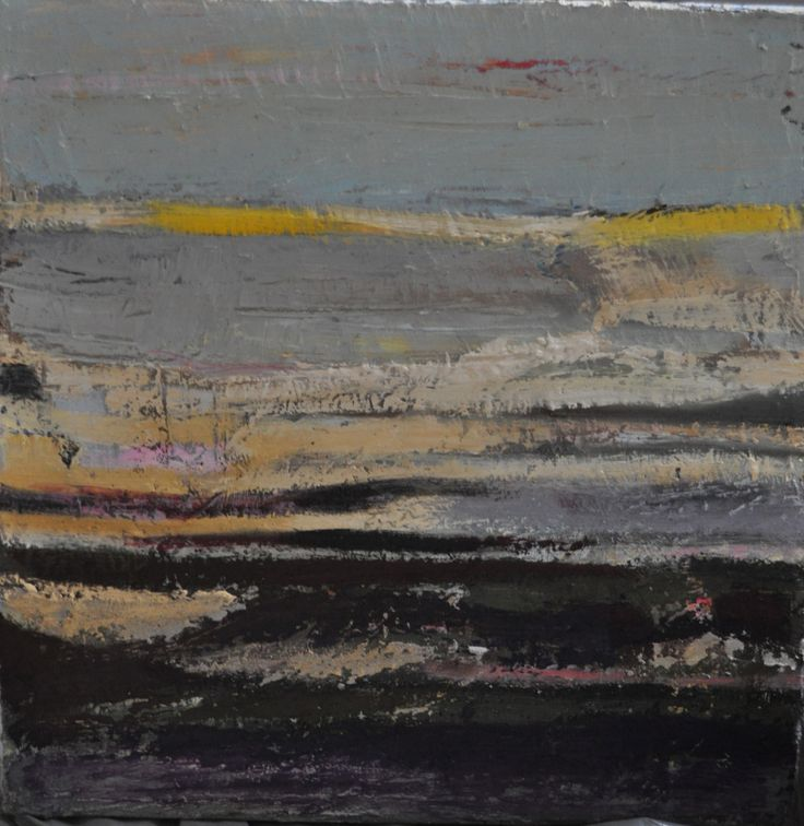 Żółto-szary pejzaż, Paulina Kowalczyk, olej, 40 x 40 cm, Galeria Sztuki Prime Art