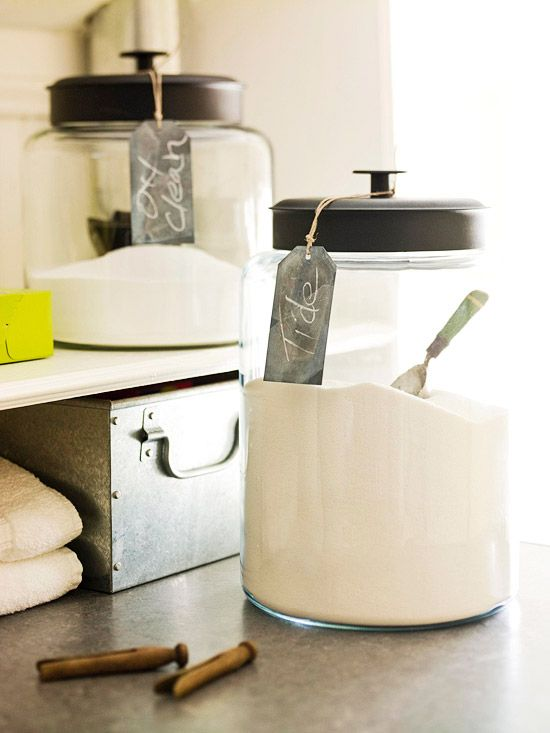 Spruce up a laundry room by putting detergents in clear jars labelled with mini chalkboards. Find out how to make your own chalkboard paint here: http://www.bhg.com/decorating/do-it-yourself-magazine/easy-chalkboard-ideas/?socsrc=bhgpin091112chalklaundryroom#page=7