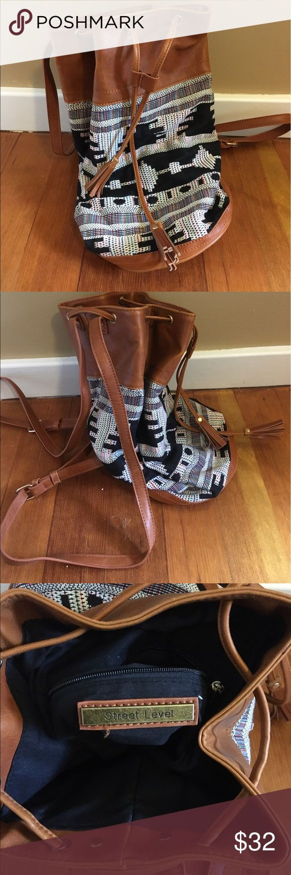 Urban Style Bag Adorable backpack with brown leather and an urban print. Great for festival season and summer! Never used/worn Bags Backpacks