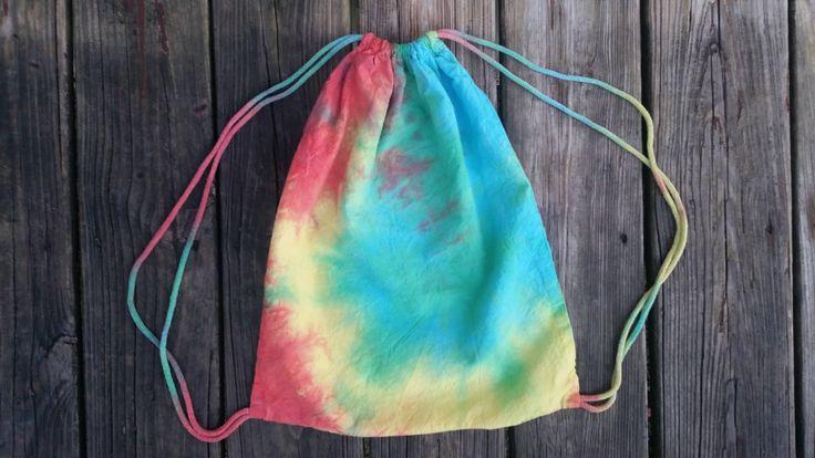Tie dye backpack, Boho backpack, rainbow tie dye, rainbow bag, tie dye drawstring, drawstring backpack, tie dye, rainbow, drawstring bag by SerenityScarvesNStuf on Etsy