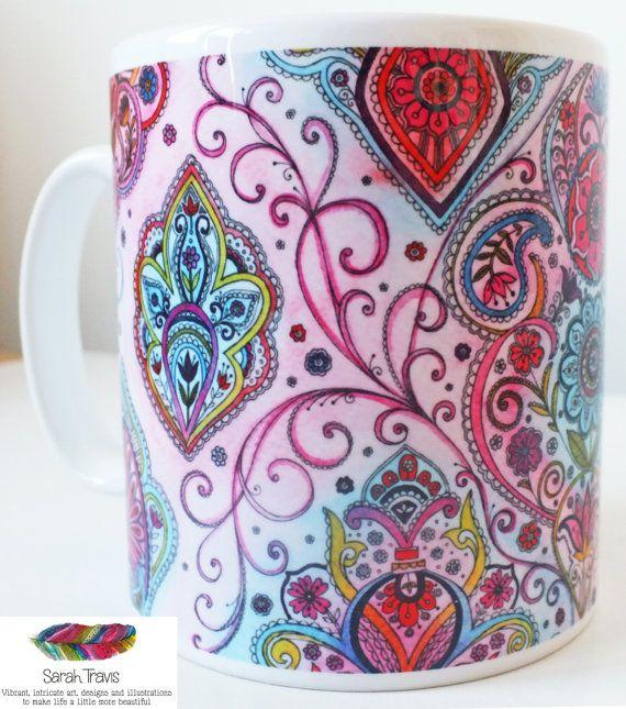 Beautiful 'Indian Summer' Porcelain Mug by SarahTravisArt on Etsy