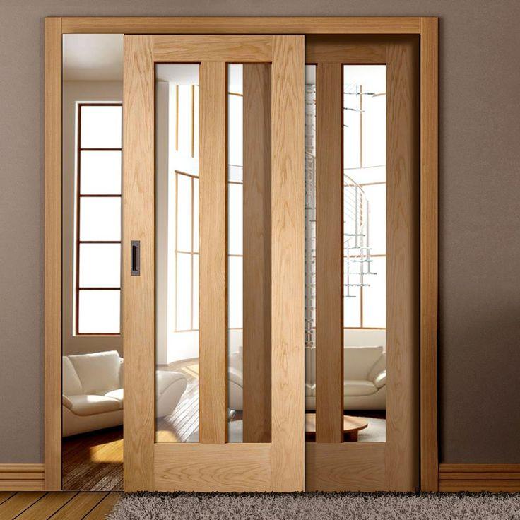 Easi-Slide OP3 Oak Full Pane Sliding Door System in Four Size Widths with Clear Glass and sliding track frame. #modernslidingdoors #slidingdoors #oakglazedslidingdoors