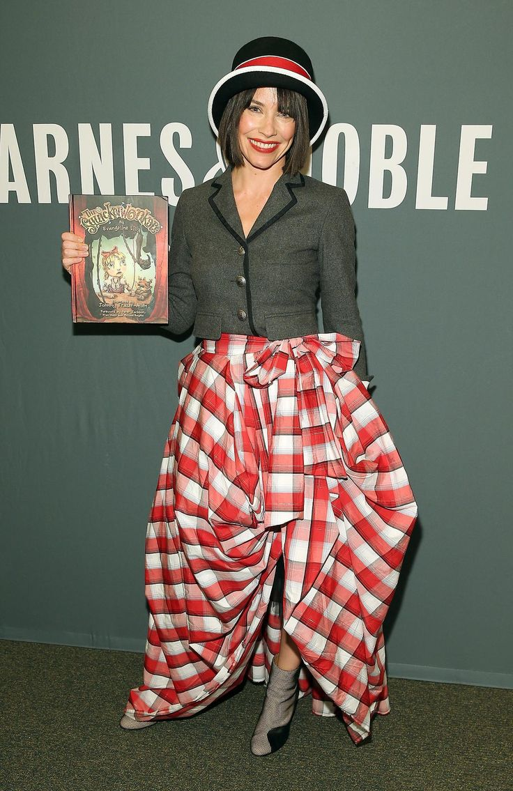 Evangeline Lilly Dresses in a Larger Than Life Skirt for 'The Squickerwonkers' Book Signing