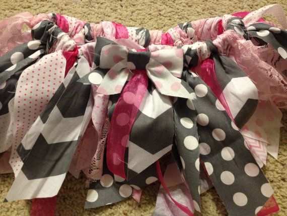 pink and gray chevron scrappy tutu and by InspiredByGianna on Etsy