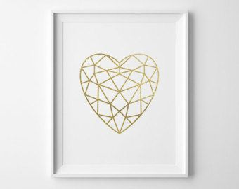 Heart Print Faux Gold Foil Art Print Modern Bedroom Decor Valentines Day Gift…