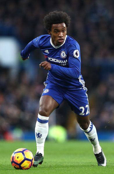 Willian of Chelsea in action during the Premier League match between Chelsea and AFC Bournemouth at Stamford Bridge on December 26, 2016 in London, England.