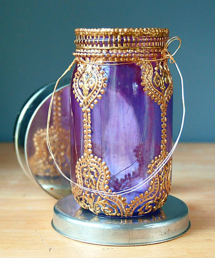 Genie in a Mason Lantern - Handmade Moroccan Nights Collection (Love the color!!!)