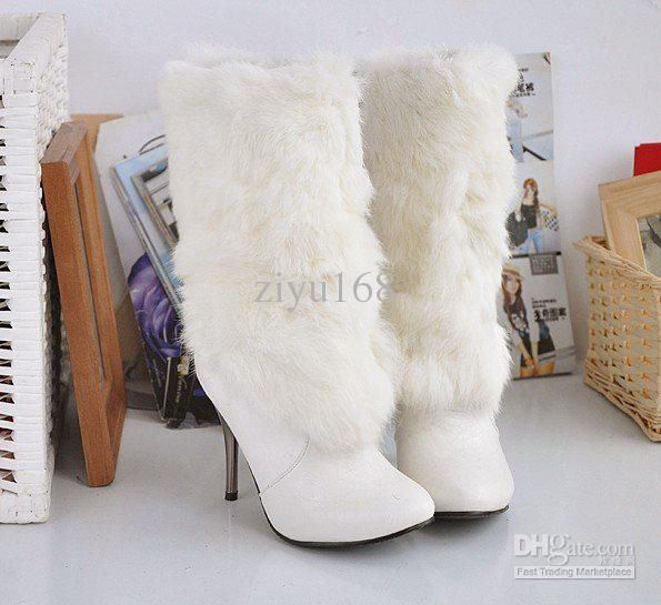 White fur boots for a winter wedding. I bought these!