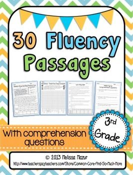 3rd Grade - 30 Reading Fluency and Comprehension Passages - Fiction and Nonfiction