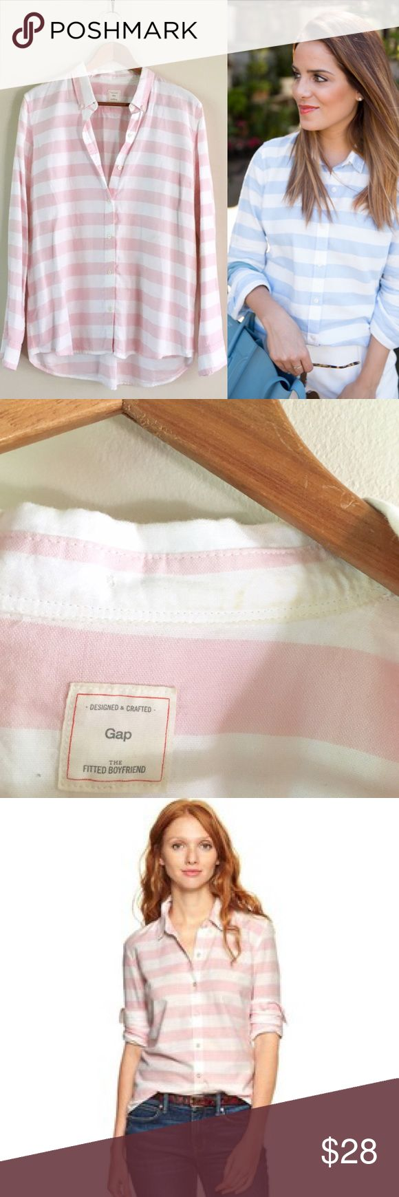 GAP | Fitted Boyfriend Oxford Shirt Soft pink & white stripe boyfriend shirt. Worn a handful of times, some yellowing on inside collar that I have not tried to remove. Likely from self tanner lotion 😬  • no paypal, no trades • i do not model • no offers please - prices are firm • ask questions before buying • smoke free home • 20% discount on bundles • GAP Tops Button Down Shirts
