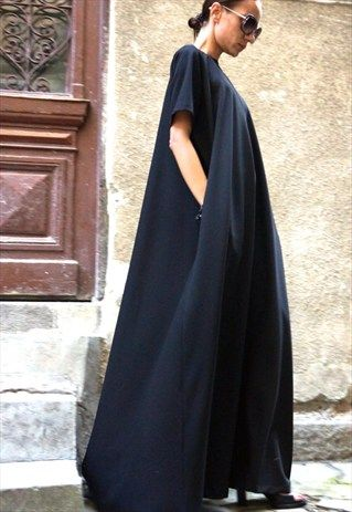 Maxi+Dress+/+Black+Kaftan+/+Party+Dress/+Extravagant++B03137