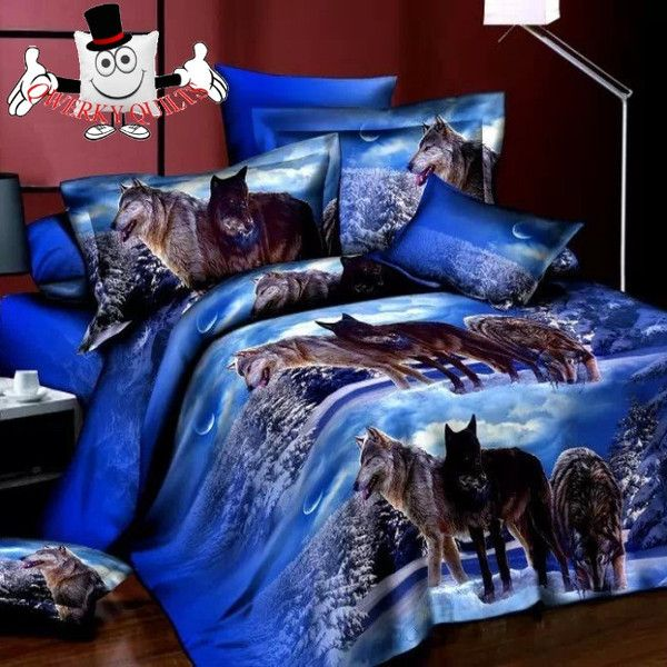 Elegant Blue Wolf Bedding Set And Quilt Cover View All Our