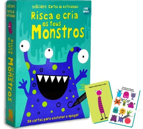 Risca e Cria os teus Monstros - São 50 cartas reversíveis para escrever e apagar e ainda um marcador para que possas riscar vezes sem conta.