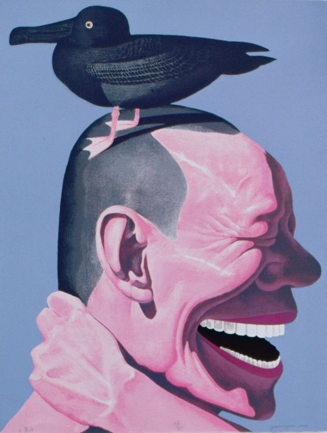Yue Minjun (Chinese:岳敏君, born 1962, Heilongjiang Province, China) is a contemporary Chinese artist based in Beijing, China. He is best known for oil paintings depicting himself in various settings, frozen in laughter.