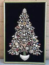 Vintage Jewelry Large RHINESTONE CHRISTMAS TREE Framed Lighted w/Custom Wood Box
