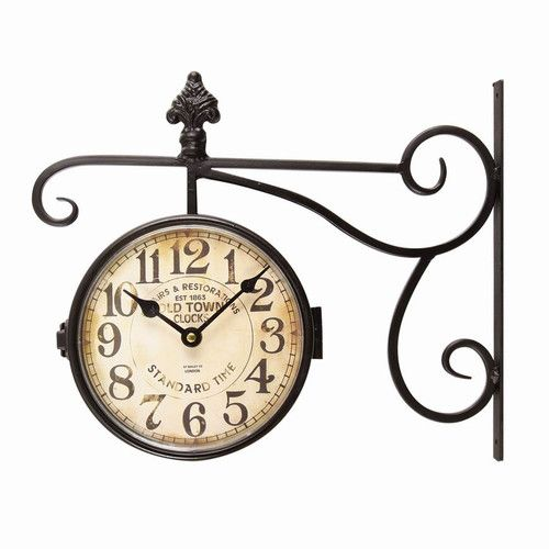Found it at Wayfair.ca - Vintage-Inspired Round Double Sided Wall Hanging Clock