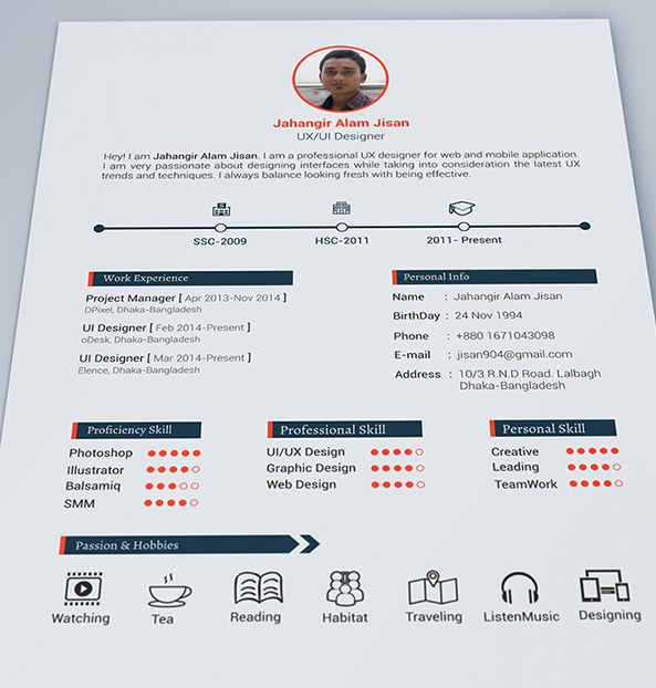 Free Resume Template for UX and UI Designers CV Pinterest - ux designer resume