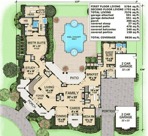 Plan 36135tx Backyard Views From Balcony Luxury Floor Plans Country Style House Plans Luxury House Plans