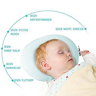 Baby Kopfkissen,orthopädisches Babykissen gegen Kopfverformung und Plattkopf,Kopfform Positioner Hals-Unterstützung Memory-Schaum Baby-Kissen mit Kuhle,Visco-Schaum Kinderkissen, Lagerungskissen Babykissen für Plagiozephalie (blau)
