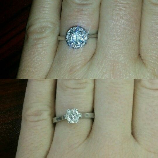 my ring before and after putting a halo on it its a 09
