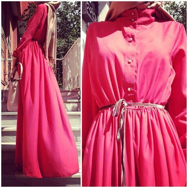 Hot pink button down maxi