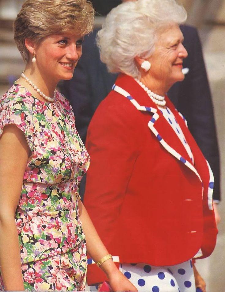 Princess Diana with Barbara Bush