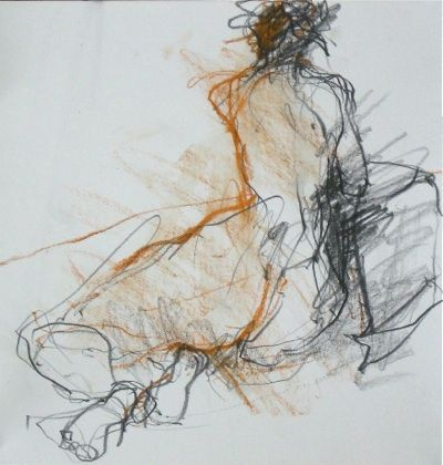 'shoulder twist' by British artist Jane Lewis. Conte & graphite, 25 x 24 cm. via the artist's site