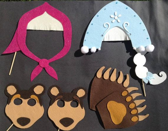 Choose your own Masha and the Bear photo booth props for your party!
