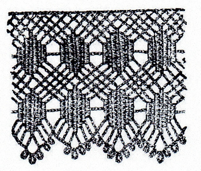 """A Pretty Trimming Lace by The Dawn newspaper, 1 Sept. 1899. """"The new and pretty lace shown is suitable for a variety of purposes, according to the fineness of the cotton in which it is worked. It is especially lacey-looking worked in No 16 or 18 cotton, in which it forms an admirable trimming for underclothes, while in thread of coarser texture it forms a durable and effective trimming for children's pinafores and aprons."""""""