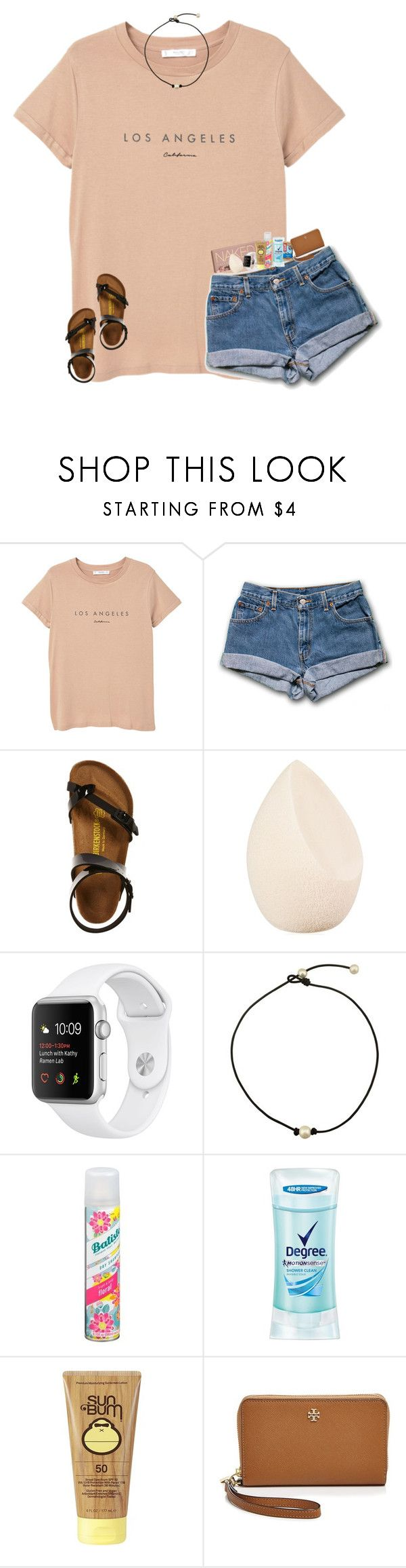 """""""currently listening to throwback songs"""" by sydneenxcole ❤ liked on Polyvore featuring MANGO, Birkenstock, Urban Decay, Christian Dior, Batiste, Degree, Sun Bum and Tory Burch"""