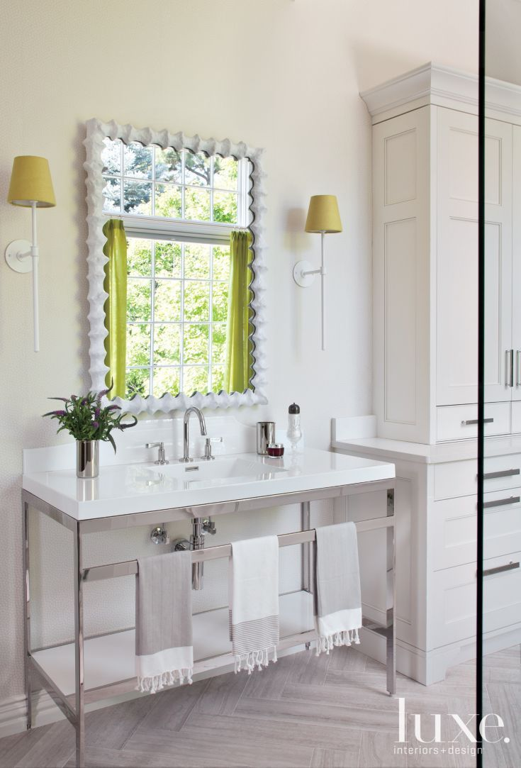 White Transitional Master Bath