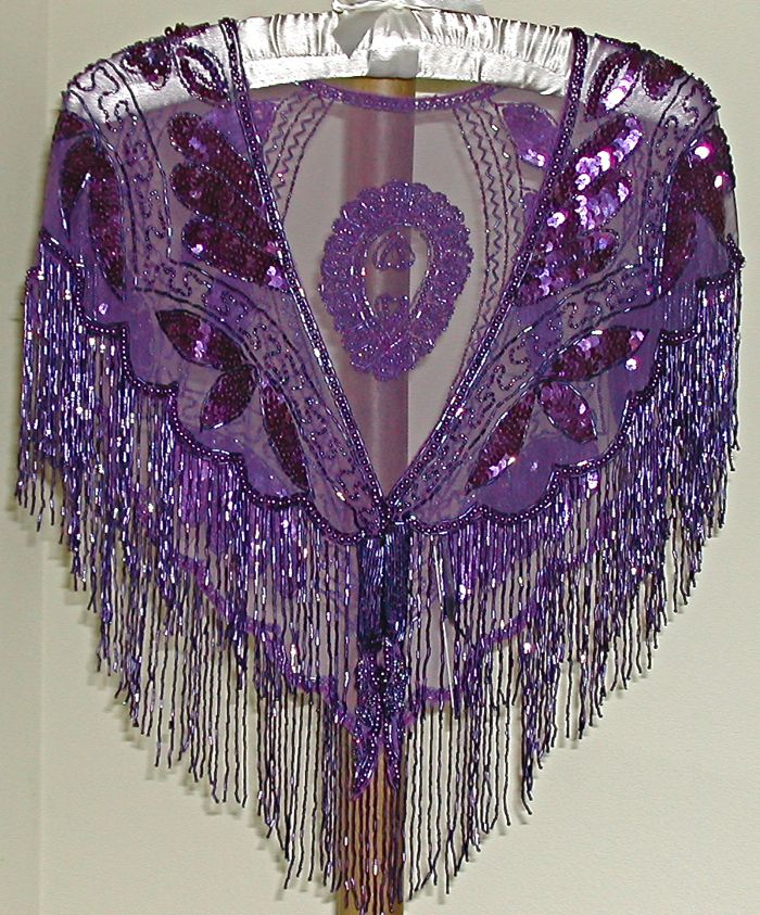 Purple sequin and beaded shawl/wrap
