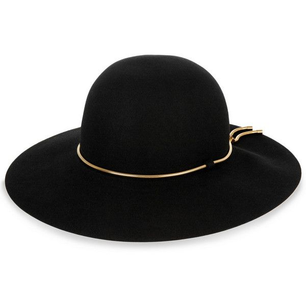 Lanvin Snake chain-trimmed rabbit-felt hat (12.287.335 IDR) ❤ liked on Polyvore featuring accessories, hats, black, lanvin, black hat, adjustable hats, black felt hat and lanvin hat