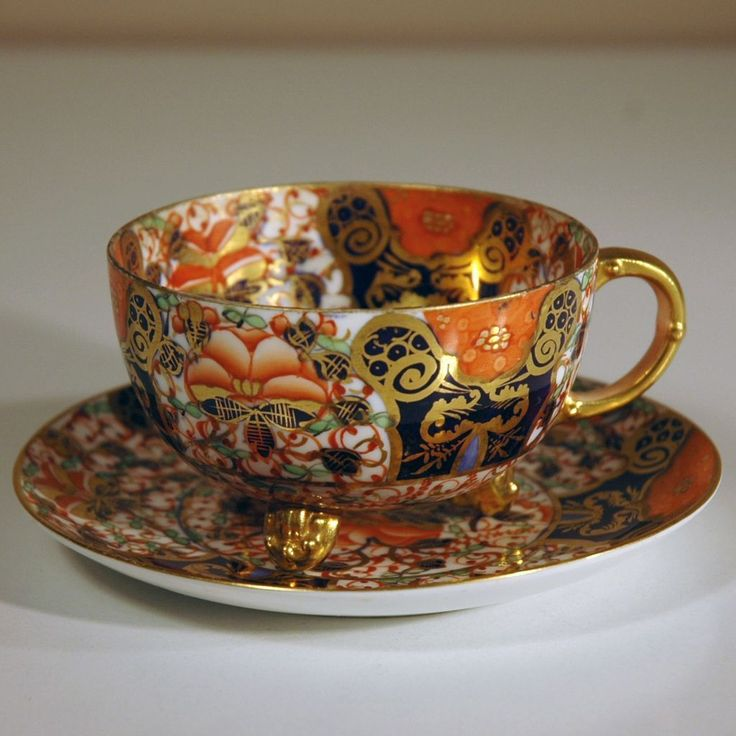 19th Century Davenport Porcelain Cup & Saucer in Pattern No. 3545