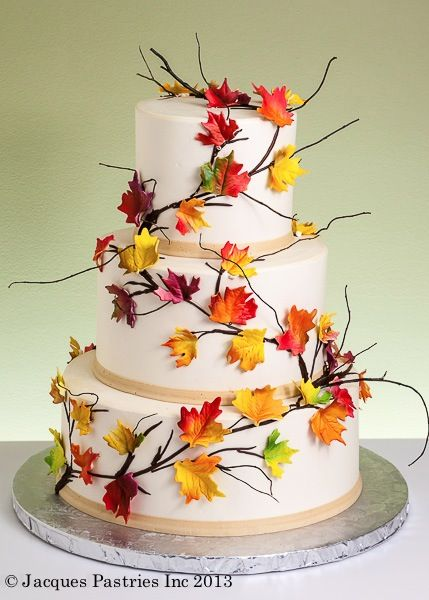 166 best images about fall wedding ideas on pinterest for Autumn cake decoration