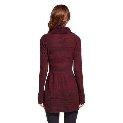 Women's Marled Cowl Neck Tunic Claret Red/Black S - Heather B, Variation Parent