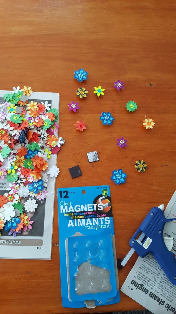 DIY magnets--use old magnets or buy new mini magnets and using a glue gun stick