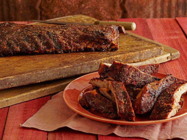 Spice Rubbed Smoked Ribs with Maple-Horseradish Baste recipe from Bobby Flay via Food Network