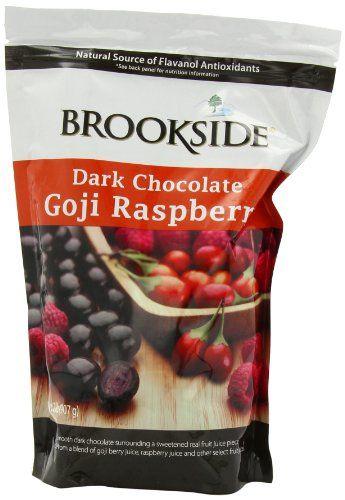 Brookside Dark Chocolate Goji Raspberry.  Yummy treats to satisfy a chocolate craving.  I buy them at Target.