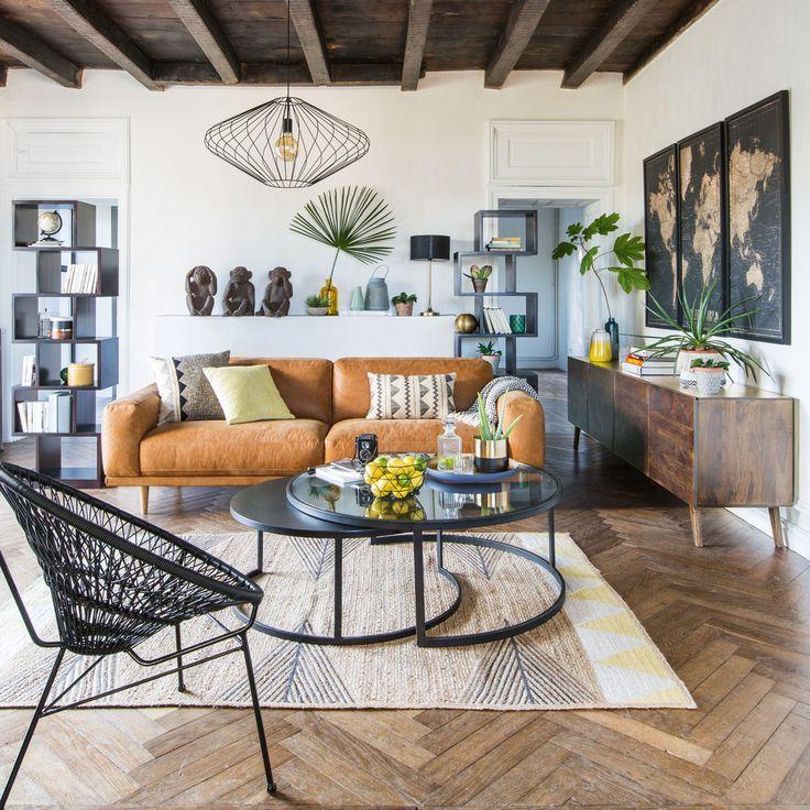 Divano vintage a 3-4 posti in pelle color cammello  Maisons du Monde