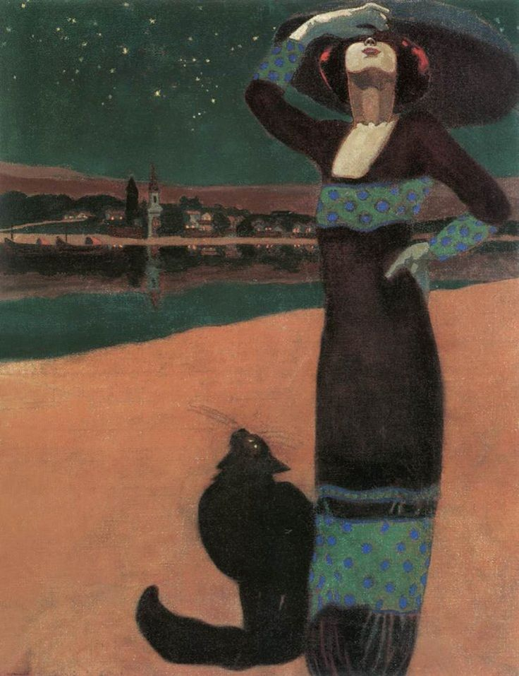 Farago Geza (Hungarian, Art Nouveau, 1877-1928): Slim Woman with a Cat, 1913.