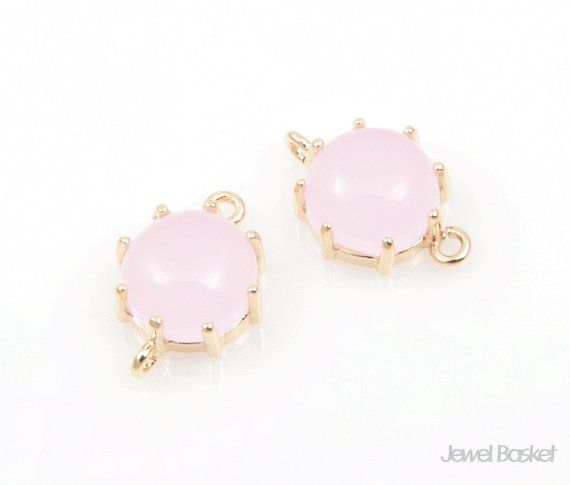 - Highly Polished Gold Frame (Tarnish Resistant) - Ice Pink Color Glass - Brass and Glass / 9mm x 14mm - 2pcs / 1pack