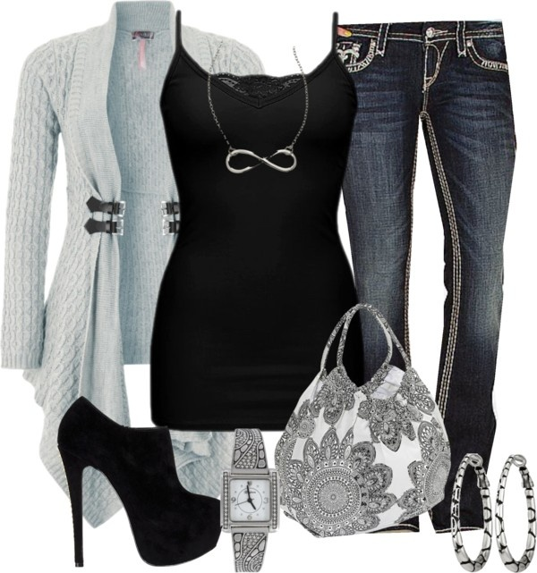 """Black, grey, and white"" by callico32 on Polyvore"
