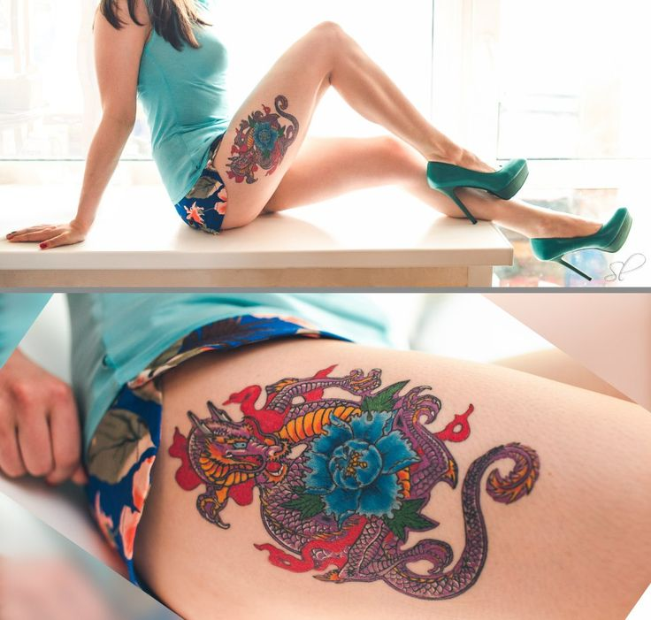 Девушка с татуировкой дракона. Тату работы Angry Fox.
