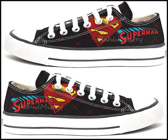 Superman Hand-painted Converse Shoes by RahulMistry on Etsy