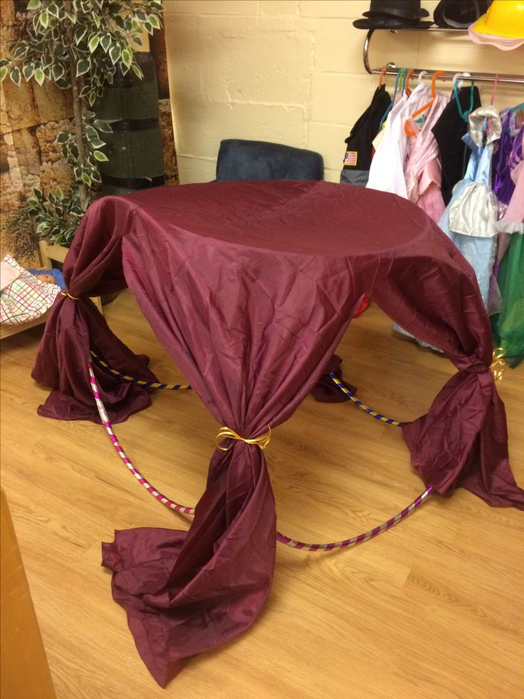 Make a tent with 4 doors by taping together 5 hula hoops. Cover in a circular tablecloth. Cut slits for the doors, then tie them back. Enjoy!